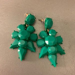 J Crew Green Enamel Earrings